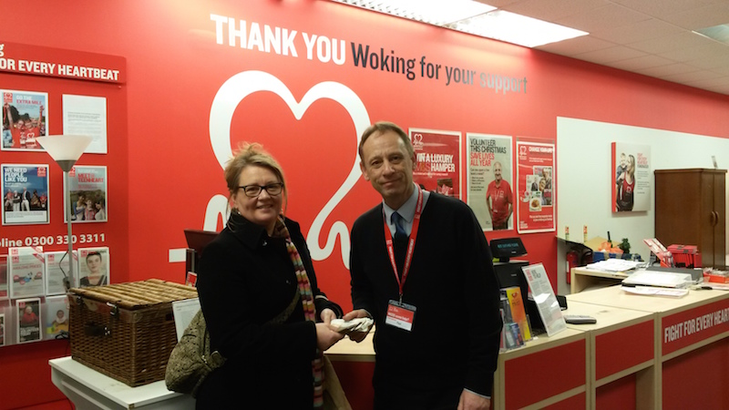 WCRA Secretary Nicola Cull presents donation to the British Heart Foundation.